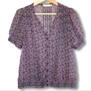 UO Pins and needles Mini Floral Button Top